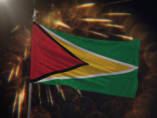 Flag of Guyana with fireworks display in the background