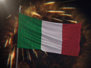 Flag of Italy with fireworks display in the background