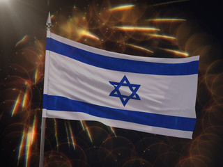 Flag of Israel with fireworks display in the background