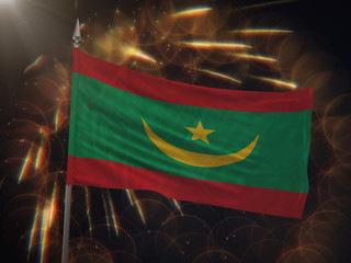 Flag of Mauritania with fireworks display in the background