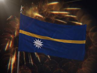 Flag of Nauru with fireworks display in the background