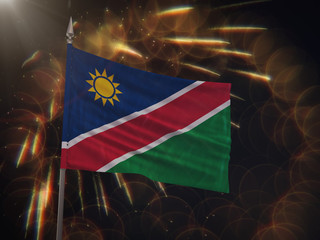 Flag of Namibia with fireworks display in the background