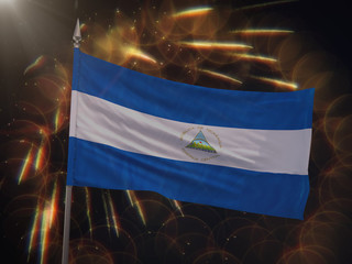 Flag of Nicaragua with fireworks display in the background