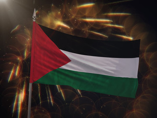 Flag of Palestine with fireworks display in the background