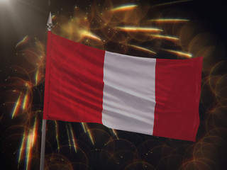 Flag of Peru with fireworks display in the background