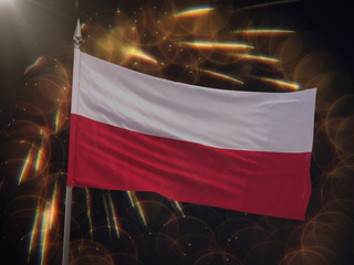 Flag of Poland with fireworks display in the background