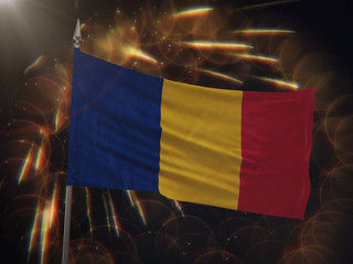 Flag of Romania with fireworks display in the background