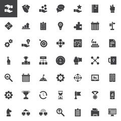 Work productivity vector icons set, modern solid symbol collection, filled style pictogram pack. Signs, logo illustration. Set includes icons as Networking, Industrial robot, File, Hourglass, Teamwork