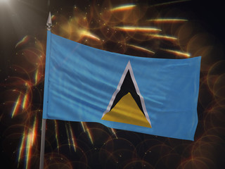 Flag of Saint Lucia with fireworks display in the background