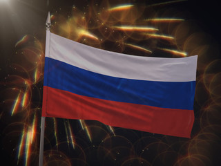 Flag of Russia with fireworks display in the background
