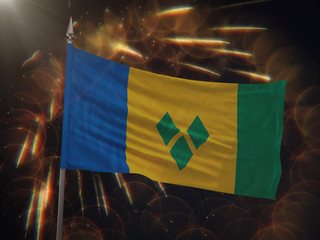 Flag of Saint Vincent and the Grenadines with fireworks display in the background