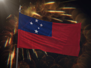 Flag of Samoa with fireworks display in the background