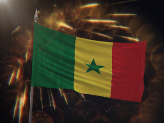 Flag of Senegal with fireworks display in the background