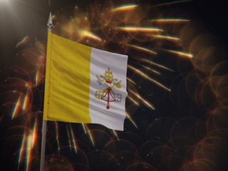 Flag of the Vatican City with fireworks display in the background