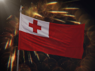 Flag of Tonga with fireworks display in the background