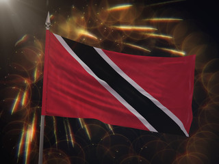 Flag of Trinidad and Tobago with fireworks display in the background
