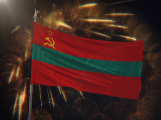 Flag of Transnistria with fireworks display in the background