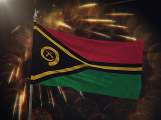 Flag of Vanuatu with fireworks display in the background