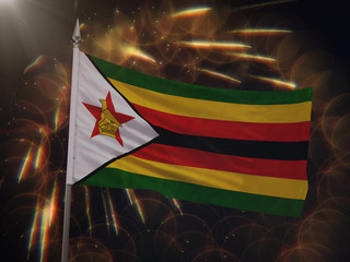 Flag of Zimbabwe with fireworks display in the background