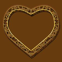 frame in the shape of heart gold color with shadow