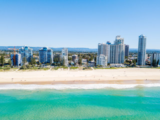 An aerial view of Broadbeach on the Gold Coast with blue water