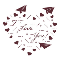 Paper airplane, hearts. Valentine's Day.