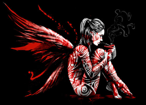 The fallen angel sits in the blood and Smoking