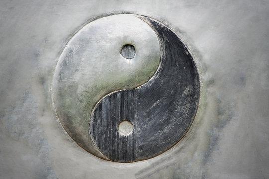 Yin Yang steel backgroound