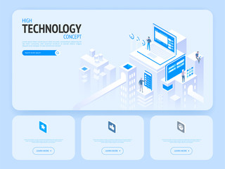 High technology concept. Landing page template.