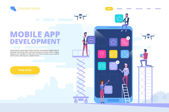 Mobile app development concept banner