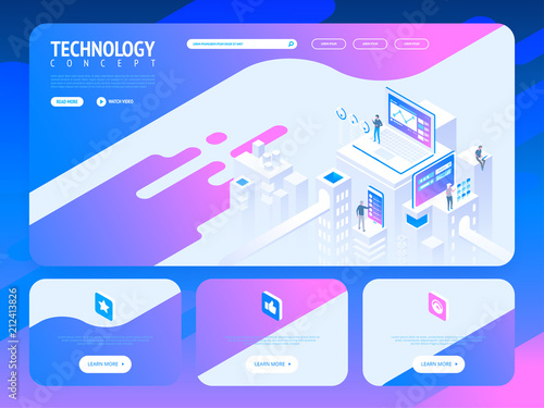 Technology creative website template design  Vector
