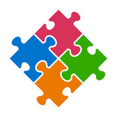 Rotated four pieces of jigsaw puzzle or teamwork concept flat vector color icon for apps and websites
