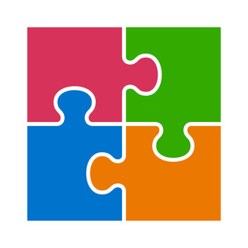 Square four pieces of jigsaw puzzle or teamwork concept flat vector color icon for apps and websites