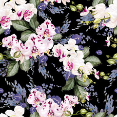 Beautiful watercolor seamless tropical jungle floral pattern background with leaves, flowers and flowers of orchids.