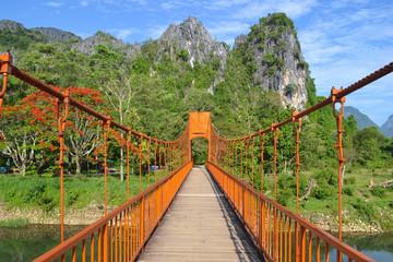 Red bridge over song river in Vang Vieng, Laos