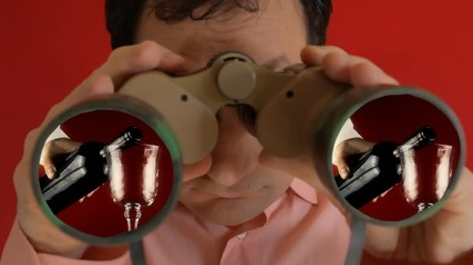 a1c52723 0:15 A funny ugly man looking through a pair of military binoculars, seeing  a waiter carefully