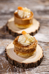 Cake with caramel and nuts
