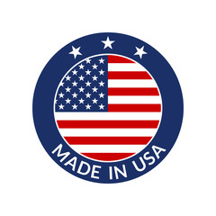 Made in USA label. Circle US icon with American flag. Vector illustration.
