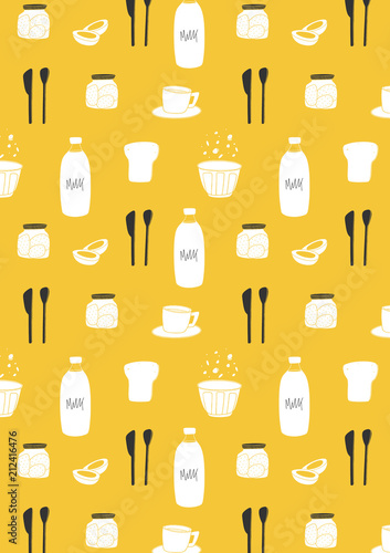 Breakfast Pattern Background Hand Drawn Yellow Kitchen Wallpaper