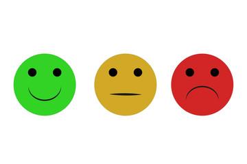 Emoticonos de felicidad, indiferencia y tristeza.