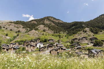Village Pal in the Pyrenees in Andorra with the romanesque church