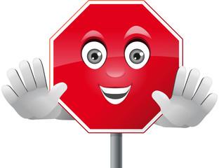 Verkehrszeichen Stop mit Gesicht und Händen