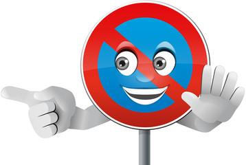 Verkehrszeichen Parkverbot mit Gesicht und Händen
