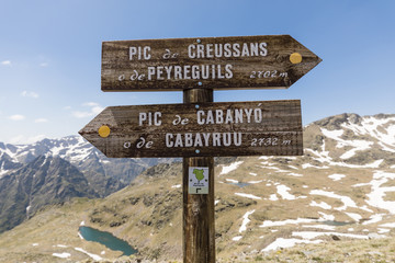 Signpost in the Ordina Arcalis area in the Pyrenees in Andorra