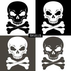 Set of black, white and gray skulls with crossbones. Vector illustration.