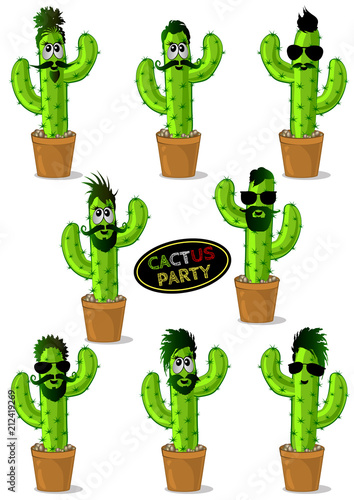Set of cartoon cactus-hipsters in glasses with different