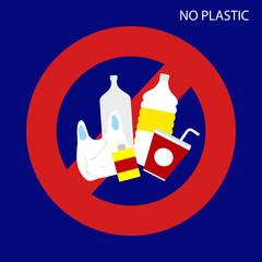 No plastic sign. vector illustration.