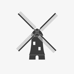 Windmill icon. Mill black silhouette. Holland and the Netherlands symbol. Vector illustration.
