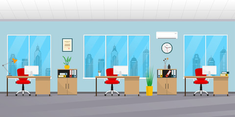 Office interior. Modern business background. Workspace with office chair, desk, computer, bookcase, clock on the wall and window. Vector illustration.