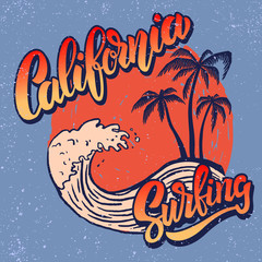 California surf rider. Poster template with lettering and palms.